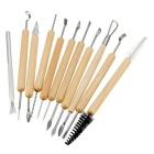 11Pcs Wax Carving Pottery Tools Shapers Polymer Modeling Wood Handle Clay Sculpting Set