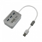 High Speed 5Gbps USB 3.0 3 Ports USB HUB / SD / TF / MS / M2 / Card Reader - White