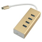 "USB 3.1 USB-C to 4 Ports Hub w/ PD Power Charge For PC Laptop & Chromebook & 12"" Macbook - Golden"
