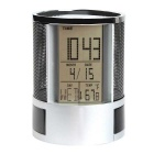 Multifunctional Pen Holder 3inch Display LED Desk Clock Mesh w/ Calendar Timer Alarm Clock - Black