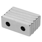 28*12*4mm Rectangular NdFeB Magnet w/ 4mm Holes - Silver White (5PCS)