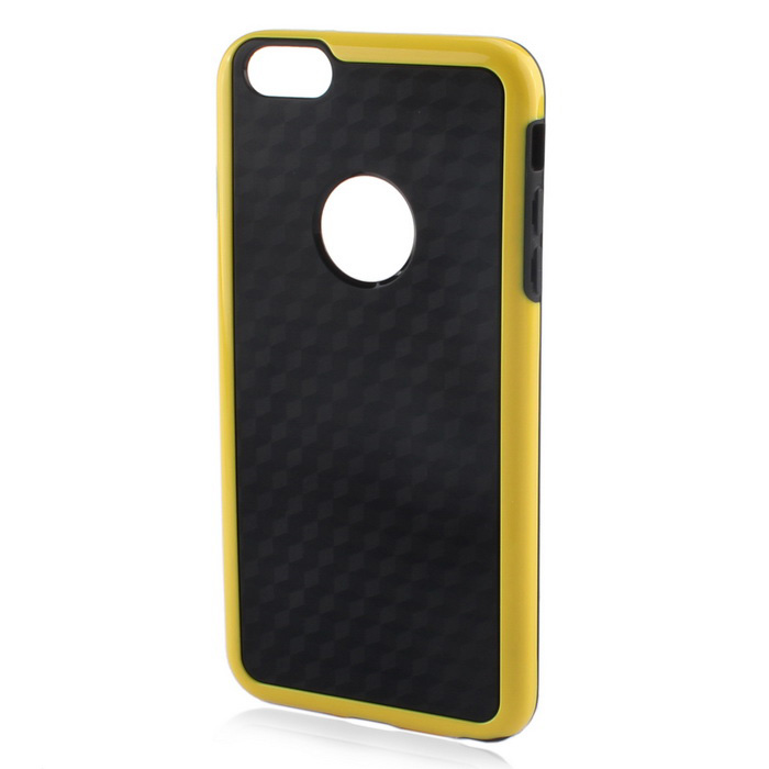 Stylish 3D Carbon Fiber Style Protective Back Case for IPHONE 6 PLUS / 6S PLUS - Black + Yellow