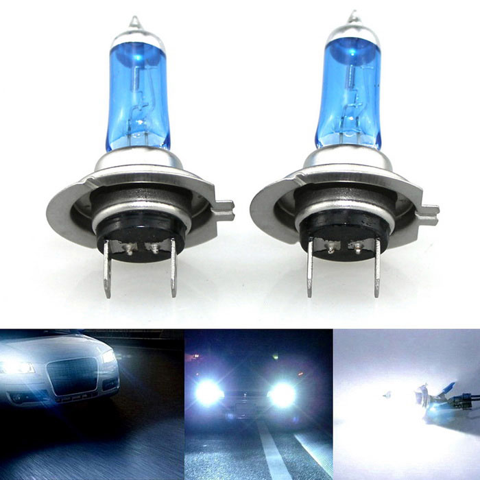 H7 100W 5500~6000K White LED Halogen Headlight Lamp Bulbs (12V / 2PCS)Headlights<br>Color Temperature6000KModelH7-100WQuantity1 DX.PCM.Model.AttributeModel.UnitMaterialUltraviolet-proof quartz glassForm  ColorBlue + WhiteCompatible Car ModelUniversalRate Voltage12VPowerOthers,75~100WColor BINWhiteActual Lumens1900~2100 DX.PCM.Model.AttributeModel.UnitConnector TypeH7Packing List2 x H7 lights<br>