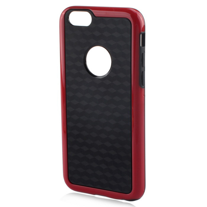 Stylish 3D Carbon Fiber Style Protective Back Case for IPHONE 6 / 6S - Black + Red
