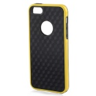 Stylish 3D Carbon Fiber Style Protective Back Case for IPHONE 5 / 5S - Black + Yellow