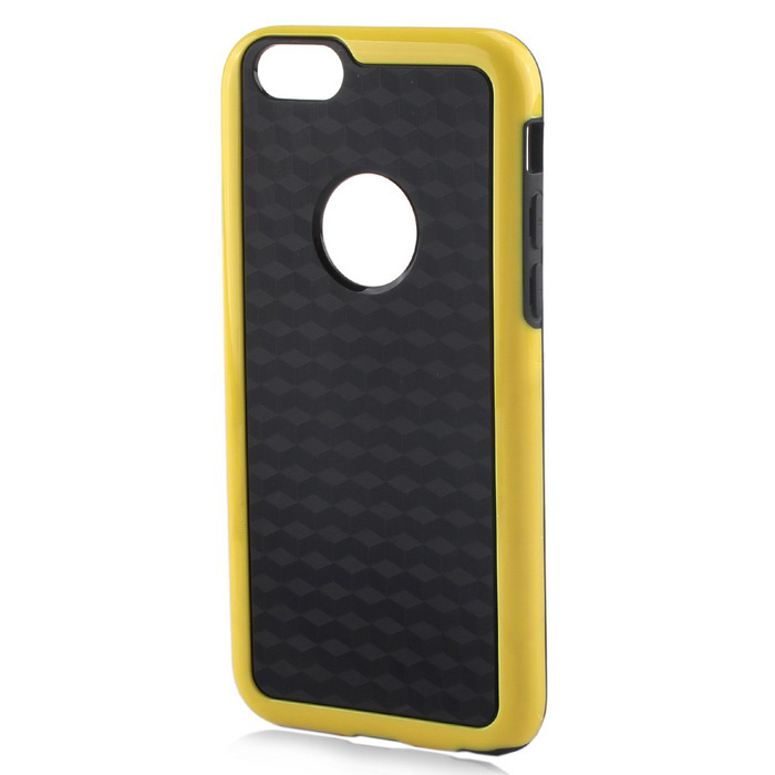 Stylish 3D Carbon Fiber Style Protective Back Case for IPHONE 6 / 6S - Black + YellowTPU Cases<br>Form  ColorBlack + YellowQuantity1 DX.PCM.Model.AttributeModel.UnitMaterialTPUCompatible ModelsIPHONE 6S,IPHONE 6Design3DStyleBack CasesPacking List1 x Back case<br>