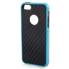 Stylish 3D Carbon Fiber Style Protective Back Case for IPHONE 5 / 5S - Black + Blue