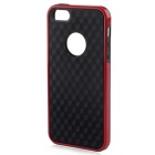 Stylish 3D Carbon Fiber Style Protective Back Case for IPHONE 5 / 5S - Black + Red