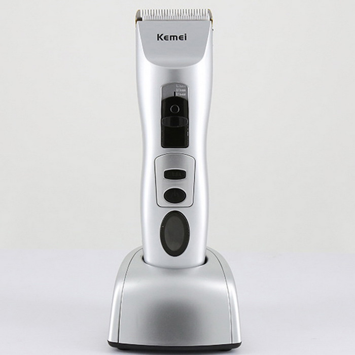 KEMEI KM-1201 Portable Rechargeable Hair Trimmer Clipper w/ LCD Display - Grey + Black