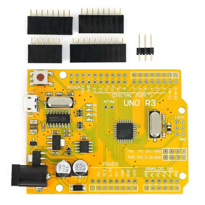 Improved Version UNO R3 ATmega328P Development Board Parts Compatible with Arduino - Yellow