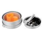 Outdoor Camping Picnic Cooking Pans Pots + Mini Burner Stove Set for 2~3 Person - Silver