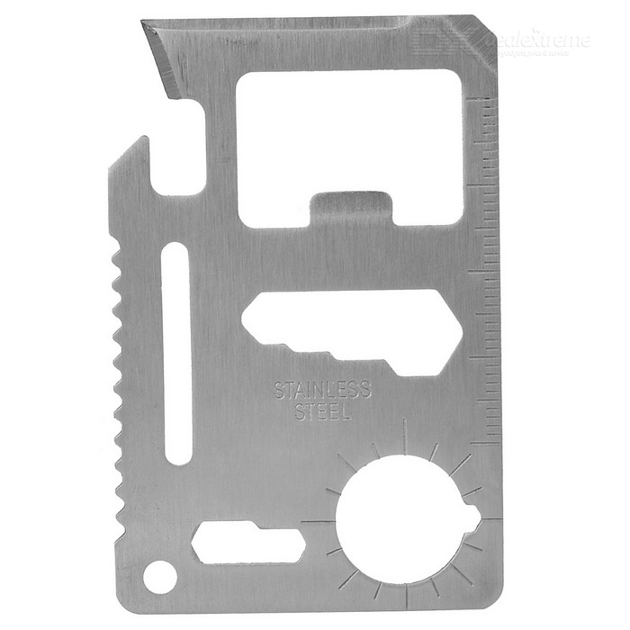 Multifuncional 11-in-1 Card Tipo Stainless Steel Survival Lâmina / Régua / Knife - prata