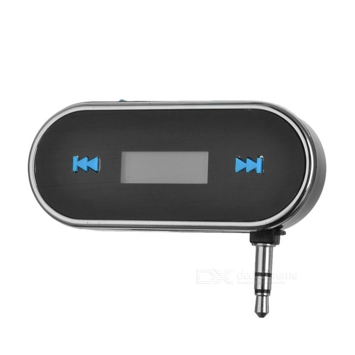 "0.75"" LCD 3.5mm Plug Music Audio FM Transmitter for Cellphone & Tablets & MP3 - Black + Silver"