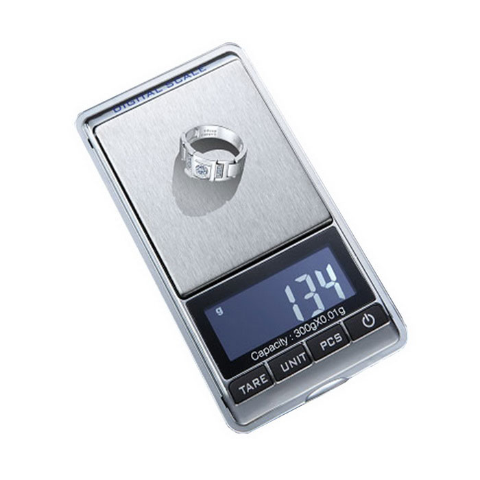 300g x 0.01g Mini Digital Jewelry Pocket Gram Scale - Silver + Black