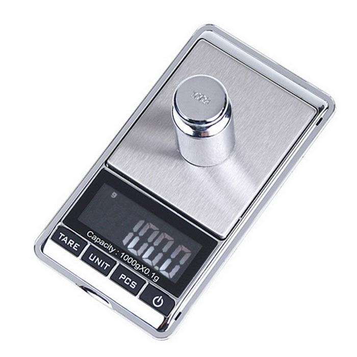 1000g x 0,1 g LCD Mini Digital Jóias bolso GRAM Scale - Silver