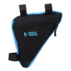 B-SOUL Quick-Release Triangular Bike Bicycle Bag - Black + Blue (1L)