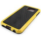 Stylish 3D Wall Carbon Fiber Stlye Protective TPU Back Case for Samsung Galaxy S6 - Black + Yellow