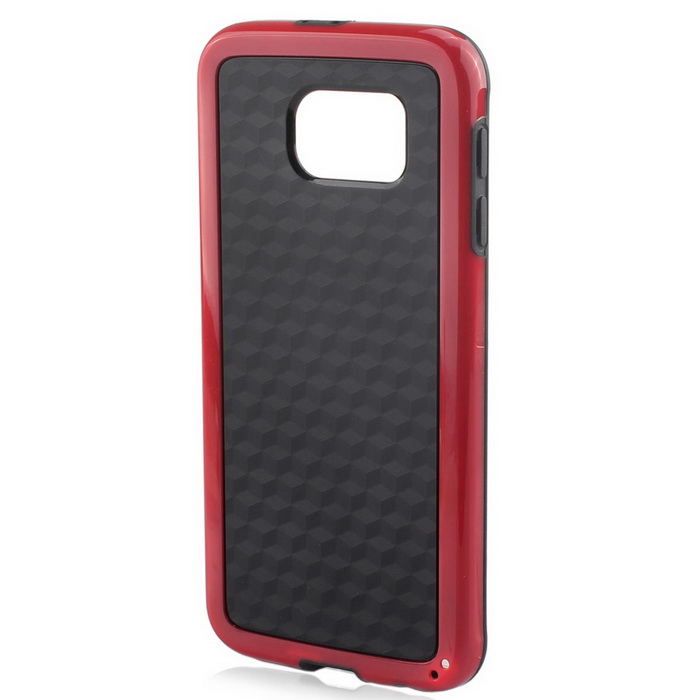 Stylish 3D Wall Carbon Fiber Stlye TPU Protective Back Case for Samsung Galaxy S6 - Black + Red