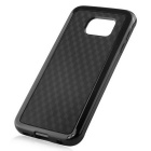 Stylish 3D Wall Carbon Fiber Stlye Protective TPU Back Case for Samsung Galaxy S6 - Black