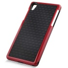 Stylish 3D Wall Carbon Fiber Stlye TPU Protective Back Case for SONY Z2 - Black + Red