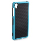 Stylish 3D Wall Carbon Fiber Stlye TPU Protective Back Case for SONY Z2 - Black + Blue
