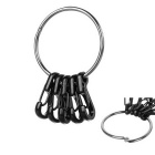 Outdoor Quick Release Spring Steel Key Ring + Aluminum Alloy Carabiner Keychains Set - Black