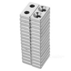 20*10*4mm Square NdFeB Magnet w/ 4mm Holes - Silver (30PCS)