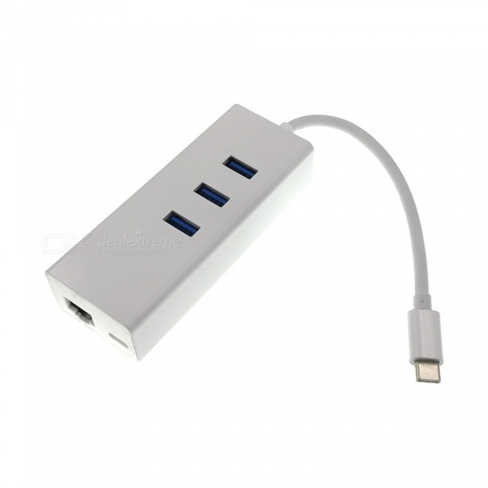 Cwxuan USB 3.1 Type C to 3-Port 3.0 HUB w/ PD Power Charge & RJ45 Network Adapter - Silver White