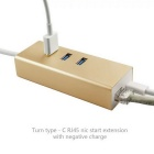 Cwxuan USB 3.1 Type C to 3-Port 3.0 HUB w/ PD Power Charge & RJ45 1000M Network Adapter - Golden