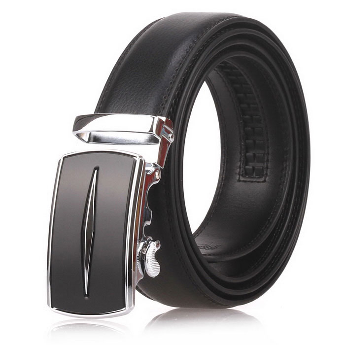 Fanshimite D05 Men's Automatic Buckle Leather Belt - Black (115cm)