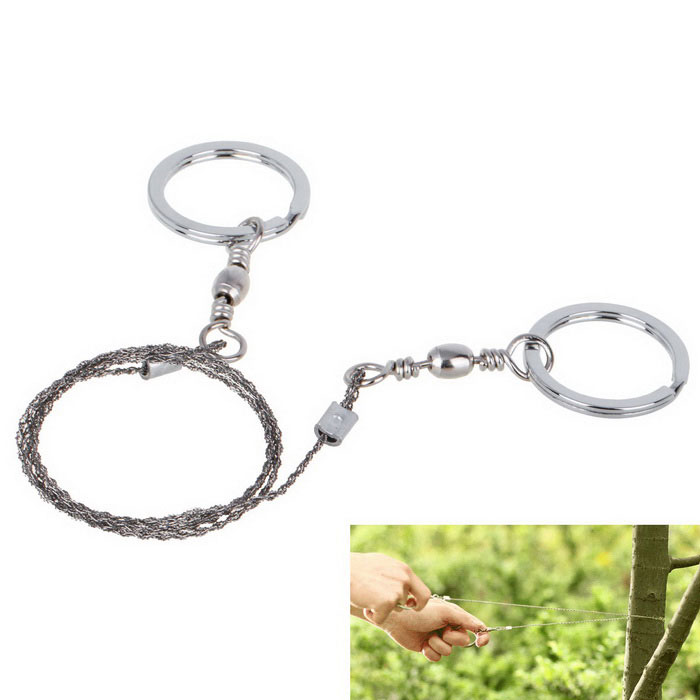 Stainless Steel Wire Saw Outdoor Wilderness Survival Equipment Hand Chain Saw - Silver