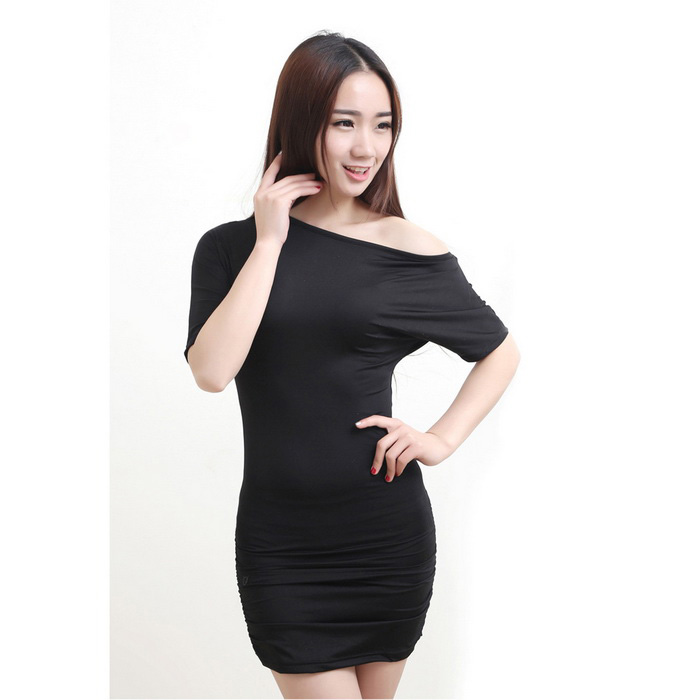 Women's Fashion Sexy Short Sleeves Dress w/ Panties - Black