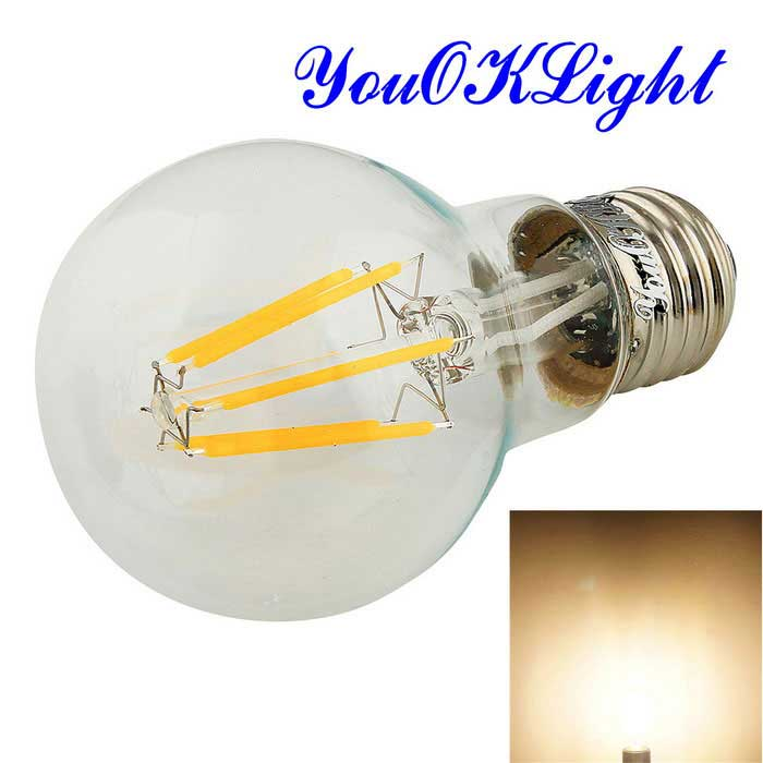 YouOKLight E27 6W LED Filament Bulb Lamp Warm White 3000K 550lm 6-COB - Transparent (AC 100~120V)E27<br>Form  ColorTranslucent White + SilverColor BINWarm WhiteModelYK0805MaterialAL + glassQuantity1 DX.PCM.Model.AttributeModel.UnitPower6WRated VoltageOthers,100~120 DX.PCM.Model.AttributeModel.UnitConnector TypeE27Emitter TypeCOBTotal Emitters6Theoretical Lumens600 DX.PCM.Model.AttributeModel.UnitActual Lumens550 DX.PCM.Model.AttributeModel.UnitColor Temperature3000KDimmableNoBeam Angle360 DX.PCM.Model.AttributeModel.UnitCertificationCE, RoHSPacking List1 x Bulb<br>