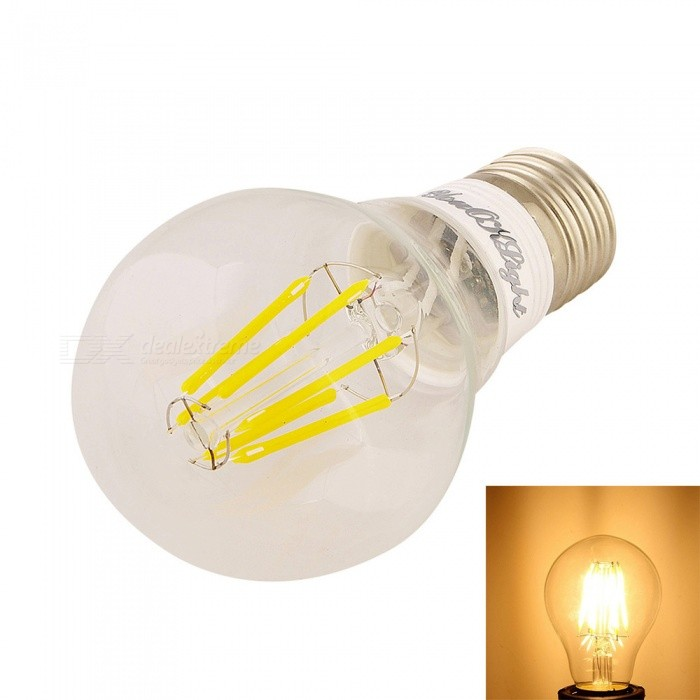 YouOKLight E27 6W LED Filament Bulb Lamp Warm White 3000K 550lm 6-COB - Transparent (AC 220~240V)E27<br>Form  ColorTransparent + SilverColor BINWarm WhiteModelYK0805MaterialAL + glassQuantity1 DX.PCM.Model.AttributeModel.UnitPower6WRated VoltageAC 220-240 DX.PCM.Model.AttributeModel.UnitConnector TypeE27Emitter TypeCOBTotal Emitters6Theoretical Lumens600 DX.PCM.Model.AttributeModel.UnitActual Lumens550 DX.PCM.Model.AttributeModel.UnitColor Temperature3000KDimmableNoBeam Angle360 DX.PCM.Model.AttributeModel.UnitCertificationCE, RoHSPacking List1 x Bulb<br>