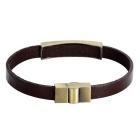 "Men's ""GOD BLESS"" Pattern Retro Cow Split Leather + Zinc Alloy Bracelet Bangle - Brown"