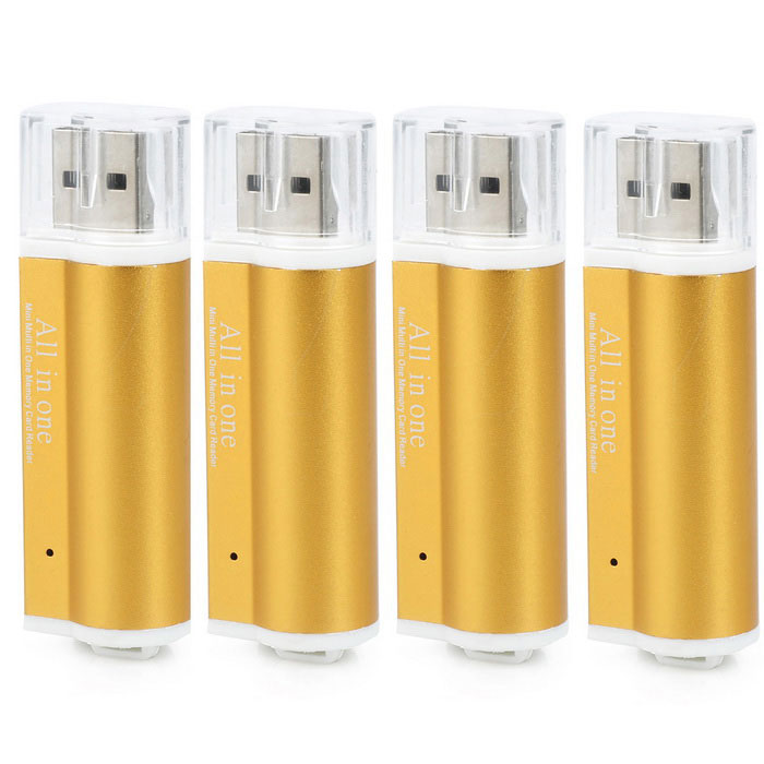 USB 2.0 SD / MS / TF / M2 Card Readers - Golden Yellow (4PCS)Card Readers<br>Form ColorGolden YellowQuantity4 DX.PCM.Model.AttributeModel.UnitShade Of ColorPinkMaterialAluminum alloy + plasticInterfaceUSB 2.0Supports Card TypeSD,MicroSD (TF),MS,M2Max. Memory Supported32GBSlot Number4Support card quantity simultaneously2Transmission Rate480 DX.PCM.Model.AttributeModel.UnitPowered ByUSBIndicator LightNoSupports SystemOthers,N/AOther FeaturesCan also read Sony memory stickPacking List4 x Card Readers<br>