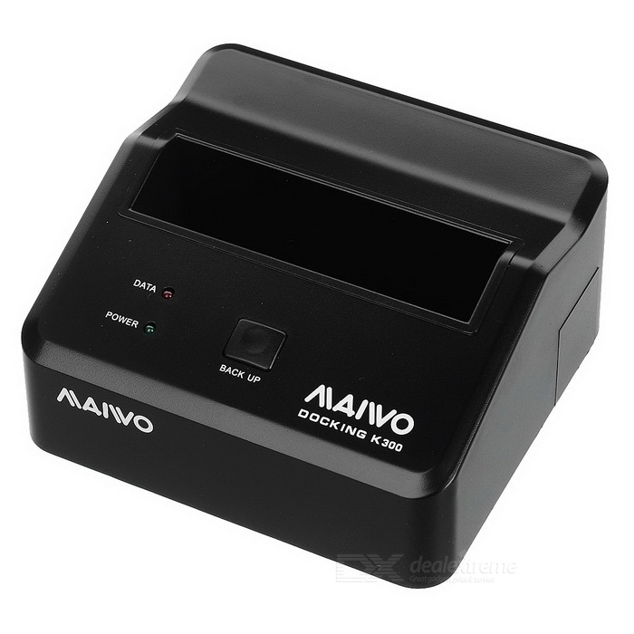 MAIWO K300 USB 3.0 2.5/3.5 SATA One Touch Backup HDD Docking - BlackHDD Dockings<br>Form ColorBlackModelK300Quantity1 DX.PCM.Model.AttributeModel.UnitMaterialABSForm Factor2.5,3.5Powered ByAC ChargerMax Sequential Read5GB/SSupports Max. Capacity3 DX.PCM.Model.AttributeModel.UnitSlotSATASlot Number1Supports SystemWin xp,Win vista,Win7 32,Win7 64,Win8 32,Win8 64,MAC OS X,IOS,Android 2.x,Android 4.xPacking List1 x HDD Docking1 x US Plug 100~240V Power adapter (148+/-2cm)1 x Type A to Type B data cable (80cm)1 x English user manual1 x Rubber cushion<br>