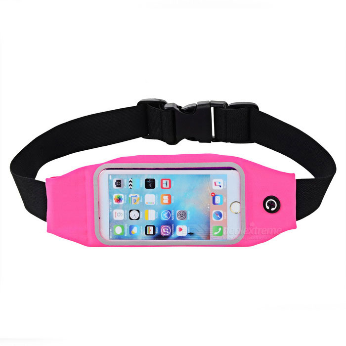 Elastic Waterproof Cycling / Running Waist Bag - Black + Rose RedBike Bags<br>Form ColorBlack + Rose RedQuantity1 DX.PCM.Model.AttributeModel.UnitMaterialChinlon + PVCTypeOthers,Waist bagCapacity- DX.PCM.Model.AttributeModel.UnitWaterproofYesGenderUnisexBest UseCycling,Mountain Cycling,Recreational Cycling,Road Cycling,Bike commuting &amp; touringPacking List1 x Waist bag<br>