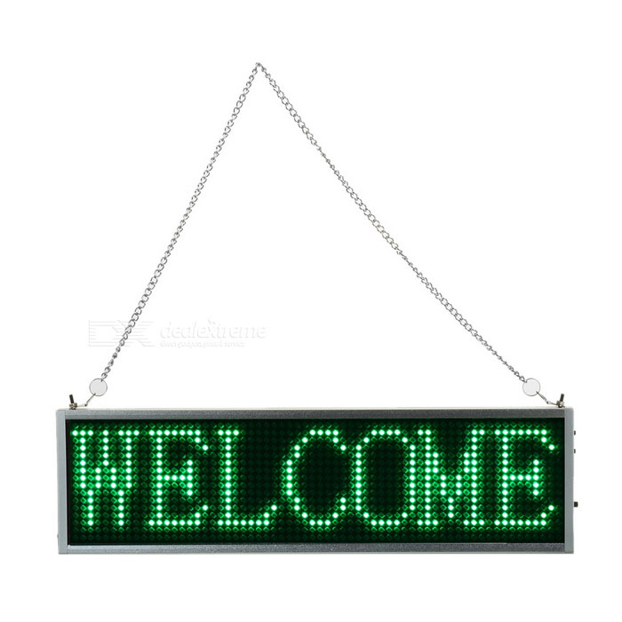 34cm Green LED Message Display Panel w/ USB Cable (US Plugs)