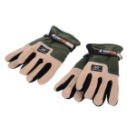 Outdoor Cycling Thickened Warm Fleece Gloves - Black + Green (Pair)