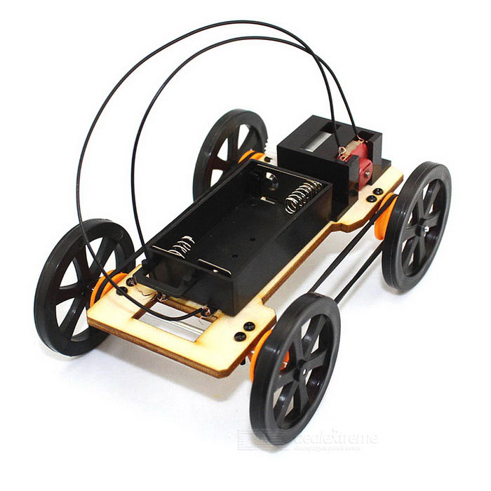 Manual DIY Educational Ensembled Pulley Drive Four Wheeler Toy - Preto