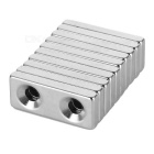 28*12*4mm Square NdFeB Magnet w/ 4mm Holes - Silver (10PCS)
