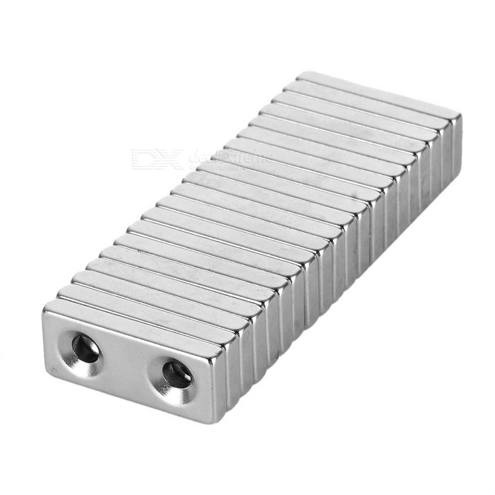 28*12*4mm Square NdFeB Magnet w/ 4mm Holes - Silver (20PCS)