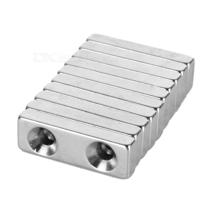 30*10*5mm Square NdFeB Magnet w/ 4mm Holes - Silver (10PCS)