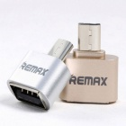 REMAX Micro USB OTG Plug for Android Mobile to Extend Connect Mouse Keyboard - Champagne Gold