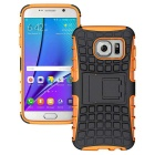 Armour Style Protective TPU Back Case w/ Stand for Samsung Galaxy S7 Edge - Orange + Black
