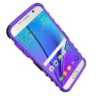 Armour Style Protective TPU Back Case w/ Stand for Samsung Galaxy S7 Edge - Purple + Black