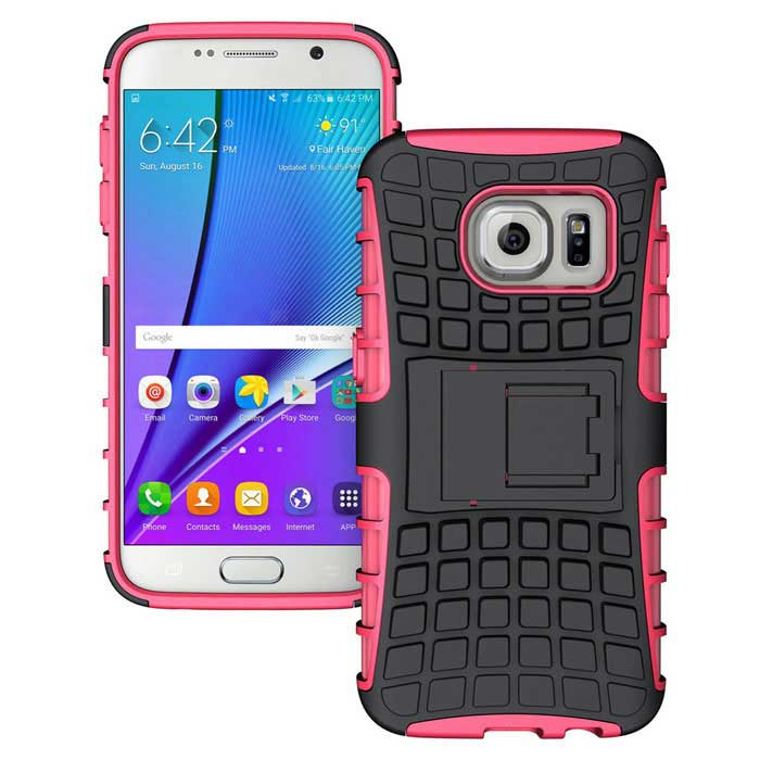 Armour Style Protective TPU Back Case w/ Stand for Samsung Galaxy S7 Edge - Dark Pink + Black