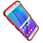 Armour Style Protective TPU Back Case w/ Stand for Samsung Galaxy S7 Edge - Red + Black