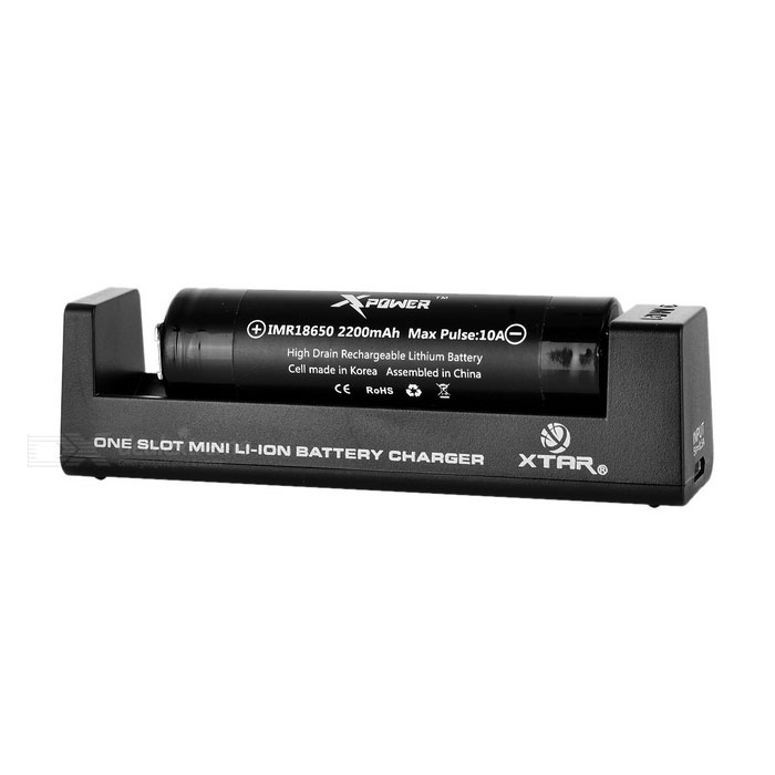 XTAR MC1 Charger + Rechargeable 2200mAh 18650 Battery Set - Black